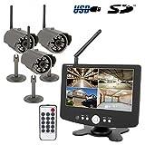 HaWoTEC HD Funk Überwachungssystem Set Videoüberwachung mit Quad Monitor SD-Slot 3 IR-Funkkameras