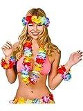 4PC Hawaii-Stirnband Hawaiianische Leis Hawaii-Girlande Hula Blumenketten Hawaiikette Halskette Tropischen Hawaiianischen Luau Blumen Lei für Beach-Party
