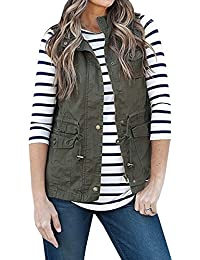 65fa68b4c05 Sevozimda Women Casual Stand Neck Zipper Solid Waistcoat with Pocket Gilet  Outcoat