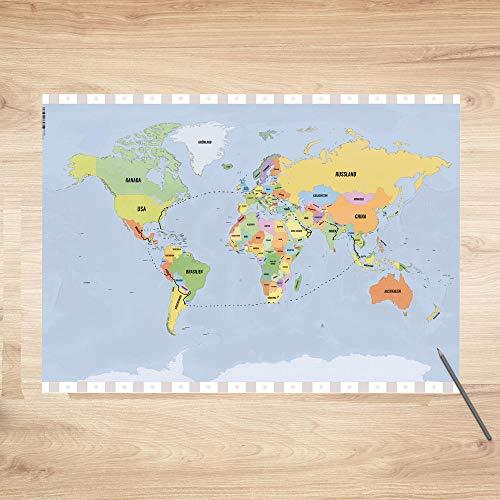 trendaffe Weltkarte Schreibtischunterlage mit 25 Blatt - Schreibunterlage Abreißblock Erde