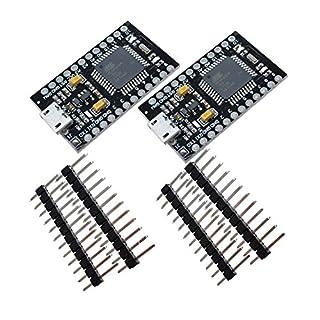 Diymore 2PCS Pro Micro ATmega32U4-AU 3.3V / 8MHz Modulplatine mit 2-reihigen Stiftleiste für Arduino Leonardo Ersetzen Sie ATmega328 Arduino Pro Mini