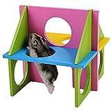 VI. Yo Hamster Gym Holz Übungs House Spielzeug Natural Gym Spielplatz für Pet Zwerg Hamster Gerbil Rat Maus Holz Spielzeug Colorful