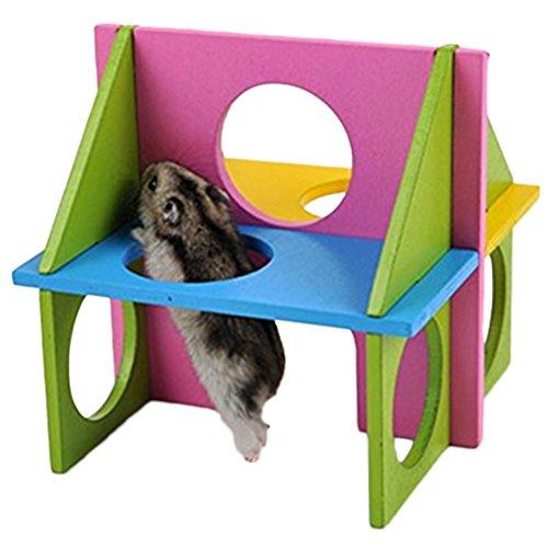 Vi.yo Hamster Gym Holz Übung Haus Spielzeug Natural Gym Spielplatz für Pet Zwerg Hamster Gerbil Ratte Maus holzspielzeug Bunte -