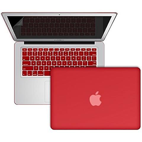 SlickBlue Macbook-Air-13 (A1466/A1369) recubierto de goma duro caja con EU QWERTY cubierta del teclado y protector de pantalla -