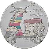 """Not Applicable Tappetino per Mouse Rotondo in Gomma Antiscivolo Motocicletta Scooter Vintage in Colori tenui pallidi Illustrazione Fuori dal Trasporto Nessun Traffico Multi 7.9""""x7.9""""x3MM"""