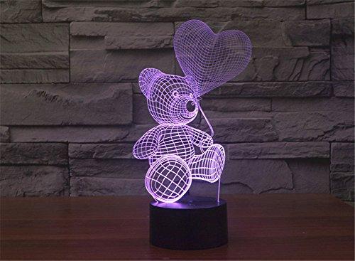 LOTOS® Creative Lighting Colorful Effet incroyable 3D Illusion optique Ours mignon Jouer Ballons Décoration tactile Commutateur bureau Night Light Lamp, cadeau parfait pour les enfants, Amoureux, Anniversaire, Noël, Festivals