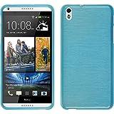 Funda de silicona para HTC Desire 816 - brushed azul - Cover PhoneNatic Cubierta + protector de pantalla