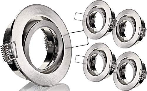 Lot de 5 - Spot Extérieur Cadre à encastrer Orientable MR16 avec fermeture à clic - Fonte d'Aluminium - Ø 82 mm - à Encastrer Ø 68 mm