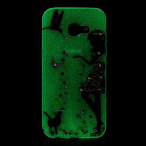 Coque Samsung Galaxy A5 2017 Housse Lumineux,Cozy Hut Verte Lumineuse Fluorescent dans le Noir Transparente Silicone Gel Etuis Ultra Slim Mince Soft Souple Résistante Antichoc Caoutchouc Pare-chocs Protecteur TPU Coque Housse pour Samsung Galaxy A5 2017 - Les femmes et les chats
