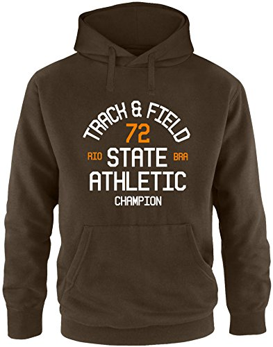 EZYshirt Track & Field Herren Hoodie Braun/Weiss/Orange