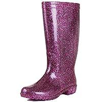 Onlineshoe Funky Flat Wellie Wellington Festival Rain Boots - Assorted Colours UK6 - EU39 - US8 - AU7 Pink
