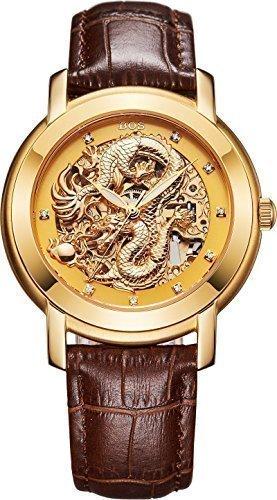 Angela bos Hombre Hollowed Dragón Chino de la moda mecánico Resistente al agua muñeca reloj oro Dial marrón Novilla banda