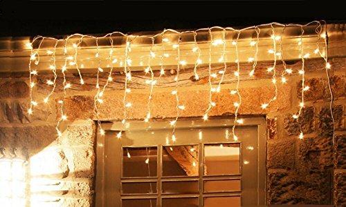 600er LED Eisregen Lichterkette Lichtervorhang Eiszapfen Warmweiß Außen Innen Deko für Garten Party Hochzeit Strombetrieben mit...