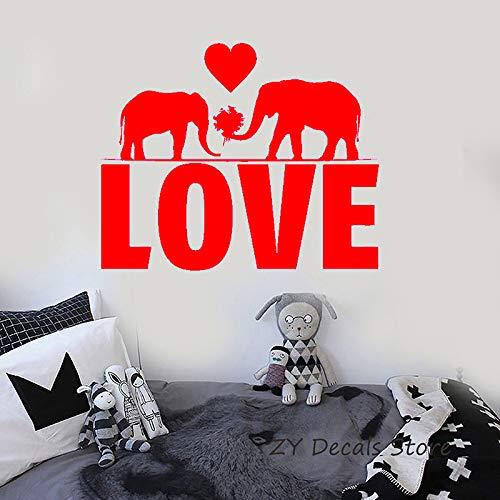 Liebe Elefant Wandtattoo Romantische Herz Wandaufkleber Schlafzimmer Abnehmbare Aufkleber Wohnzimmer Kunstwand 42x51 cm -