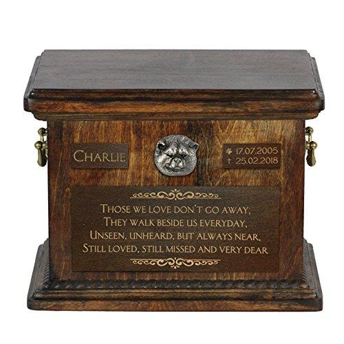 ArtDog Ltd. Akita Inu, Japaner Akita, Urne für Hundeasche mit Relief und Satz mit Ihrem Hund Name und - Akita-statue