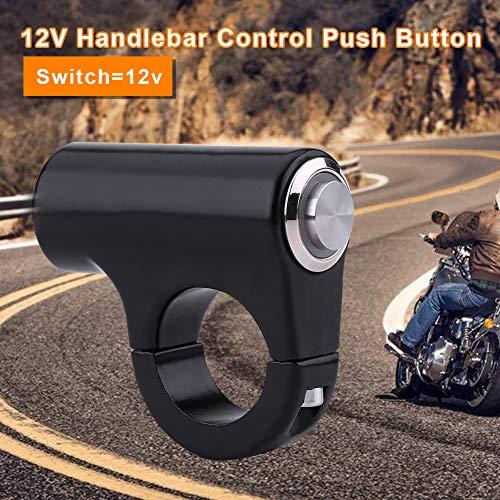in lega di alluminio resistente alle intemperie Montaggio sul manubrio del motociclo Pulsante 7//822mm Interruttore a pulsante di controllo del manubrio B Style Self-Locking Button With Light