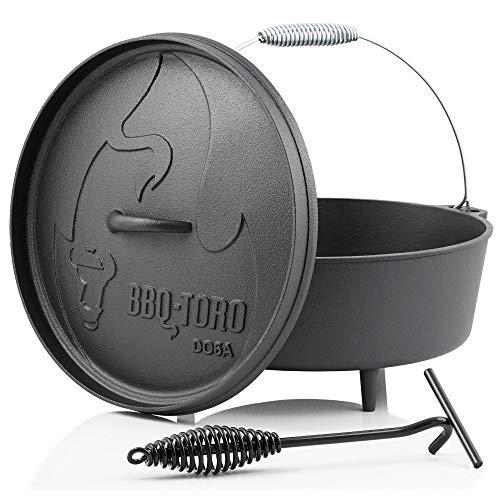 BBQ-Toro Dutch Oven Alpha Serie I bereits eingebrannt - preseasoned I Verschiedene Größen I Gusseisen Kochtopf I Bräter mit Deckelheber (DO6A - 5,5 Liter, Topf mit Füße)