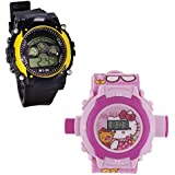 Shanti Enterprises Combo Hello Kitty 24 Images Projector Watch And Sports Watch Multi Color Dial For Kids - B07573KZCV