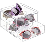 mDesign - Organizador apilable, para anteojos; guarda gafas de sol, anteojos, lentes de lectura - 2 cajones subdivididos - Claro