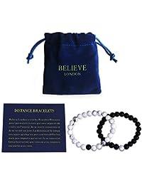 Believe London Distance Bracelets de avec Sac de Bijoux et Carte de Signification | Fort élastique | Amitié Relation Couples Son Ses | Howlite Blanc Agate Onyx Noir