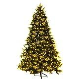 COSTWAY Weihnachtsbaum Künstlicher Tannenbaum mit LED-Lichterketten Christbaum beleuchtet 210/225/240cm Grün (225CM)