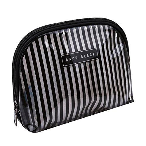 JOOFFF Transparente wasserdichte Kosmetiktasche, PVC mit Reißverschluss Wash Bag, Badezimmer und organisieren Reisetasche Aufbewahrungstasche, schwarz