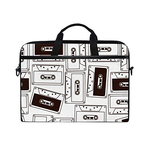 Ahomy 14 Zoll Laptop-Tasche, Audiokassette Tapes Canvas Stoff Laptop Tasche Bussiness Handtasche mit Schultergurt für Damen und Herren (Canvas-tape)