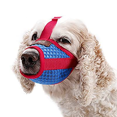 IREENUO Adjustable Dog Muzzle - Anti-Bite and Bark Dog Mesh Mouth Cover for Small Medium Large Dogs (Blue+Red) from IREENUO