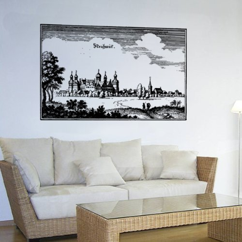ville-neuhaus-cuivre-point-moyen-age-antivol-decoration-murale-sticker-mural-stickers-env-45-cm-x-70
