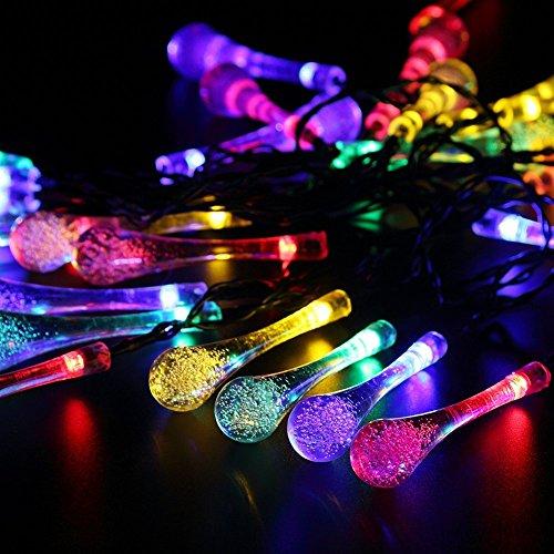 GDEALER Solar Outdoor Lichterkette 6 Meter 30 LEDs Wassertropfen Solarbetrieben Lichterkette Wasserfest Weihnachten Dekoration für Garten, Terrasse, Hof, Haus, Weihnachtsbaum, Feiern – RGB - 3