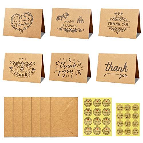 apier Dankeskarten Danke U Grußkarte W / 24 Kraftpapier Umschläge und 24 Stück Umschlag Danke Aufkleber für Hochzeit, Schulabschluss, Baby-Dusche, Jahrestag,15X10cm/5.9X4.0IN ()