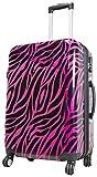 Koffer L Mittel Zebra Pink Schwarz 67 cm Hartschale Rollen Reise Trolley Bowatex