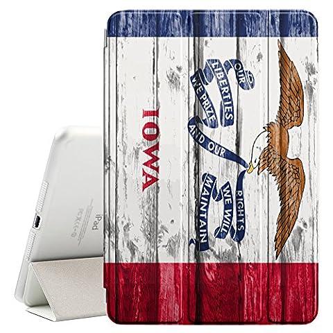 FJCases Iowa The Hawkeye State Drapeau à motif en bois Smart Cover Coque Étui Cache Mince Avec Support et Auto Réveil / Veille pour Apple iPad Mini