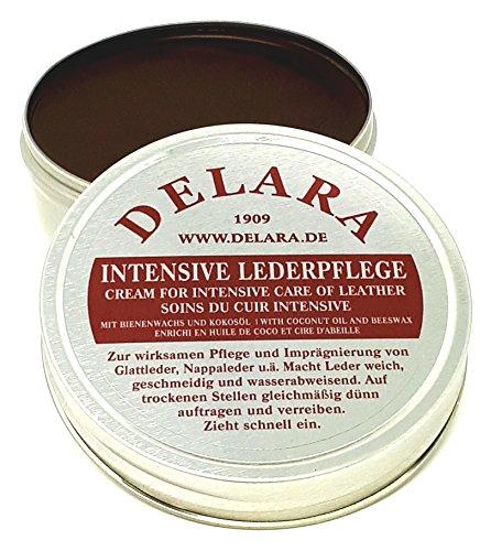 DELARA Intensive Lederpflege, braun, 75 ml - Imprägniert und schützt Leder sehr wirksam Rezeptur mit hochwertigem Kokosöl und Bienenwachs - Made in Germany -