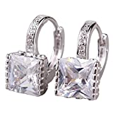 GULICX Hoop Huggie Earrings White Jewellery 18k White Gold Plated Princess Cut Zircon Square Stone Drops