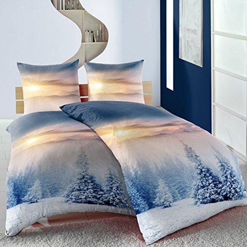 4-teilig Bettwäsche Microfaser Thermofleece Winterhills blau Winter Schnee Weihnachten
