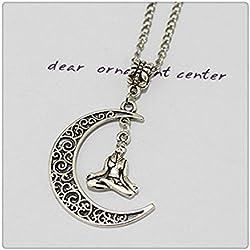Plata Luna Collar Collar De Meditación, Yoga Collar Meditación, Yoga jewelery, colgante, collar de Buda