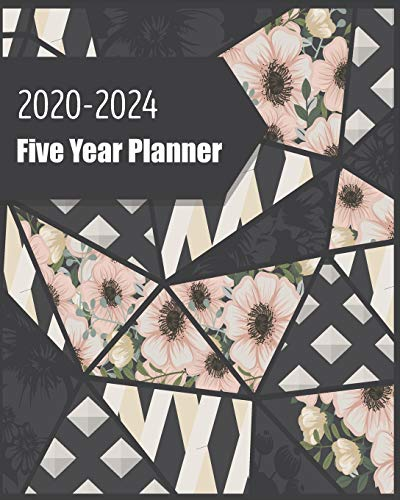 2020-2024 Five Year Planner: Abtract Floral Black, Weekly Monthly Schedule Organizer Agenda, 60 Month For The Next 5 Year with Holidays and Inspirational Quotes -