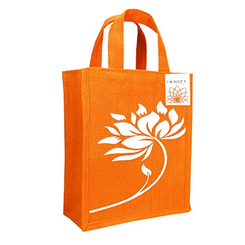 INDOZY Unisex Jute Lunch Bag, AJB910VB (10x12x5-inch, Orange)