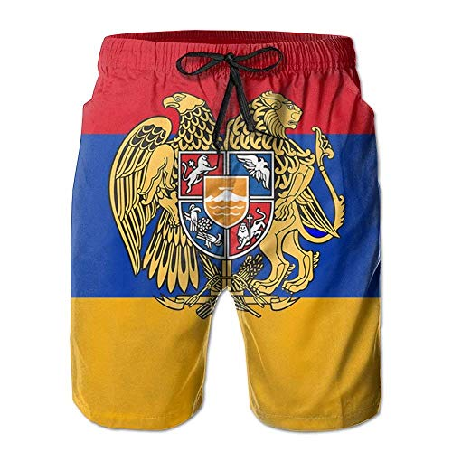 Fashion Men's Beach Pants Armenian National Emblem Mens Fashion Quick Dry Beach Board Shorts Elastic Drawstring Swim Trunks,M -