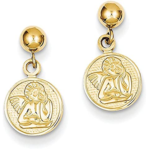 A forma di angelo, in oro 14 ct, medaglione Orecchini pendenti, dimensioni: 15 x 10 mm