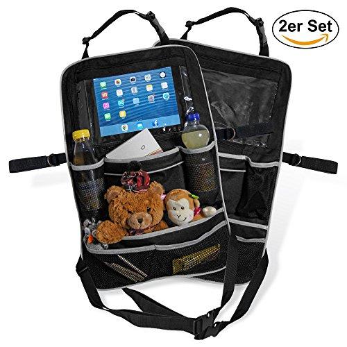 Premium-Rücksitztasche fürs Auto mit Tablett-Fach | Geräumiger Rücksitz-Organizer perfekt für Kinder | Geräumige Rücklehntasche für Reise-Utensilien und Spielzeug | Leicht abwaschbarer Rücklehnenschutz (2er Set)