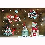 OHQ NoëL éMail Or Stickers Muraux FenêTre Porte en Verre Amovibles DéCoration De La Maison Peinture Sticker DéCoratif Mural Autocollant Chambre (Multicolore-A, 80X60cm)