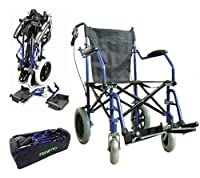 Heavy duty lightweight folding transit travel wheelchair in a bag with handbrakes ECTR04HD