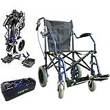 Deluxe silla de ruedas plegable de peso ligero en una bolsa con frenos de mano ECTR04HD