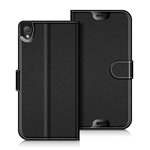 coodio Sony Xperia Z3 Hülle Leder Lederhülle Ledertasche Wallet Handyhülle Tasche Schutzhülle mit Magnetverschluss/Kartenfächer für Sony Xperia Z3, Schwarz
