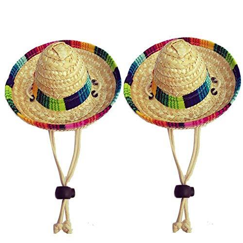 (Gfeu Stroh-Sombrero für Hunde, 2 Stück, lustiger mexikanischer Stil, Hundesonnenhut, Kostüm, Party-Dekoration)