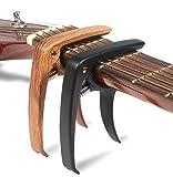 WINGO Quick Change Capo Gitarre, 6-Saiter Akustik Gitarre & E-Gitarre Zubehör -für Ukulele, Bass (Dark-Holz Farbe und schwarz, 2 Pack)