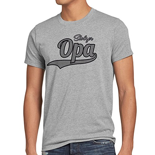 style3 Stolzer Opa Herren T-Shirt Großvater Fun Funshirt Spruch Spruchshirt  Grau Meliert