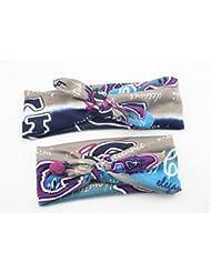 Bllomsem 1 paire de mamans et de bébés Imprimer bande de cheveux élastiques Bohemia style bandeau de coton 04